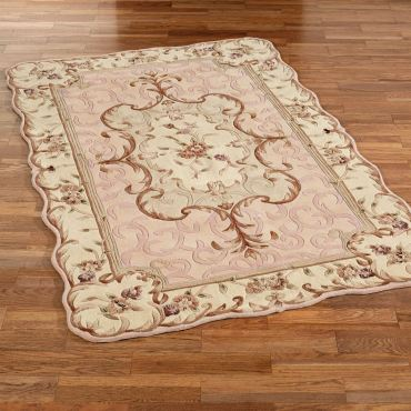 Emmaleee Pale Blush Scalloped Rug
