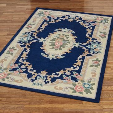 Serena Aubusson Midnight Blue Area Rug