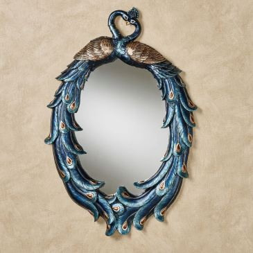 Priscilla Peacocks Blue Oval Wall Mirror
