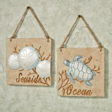 Seaside Coastal Wall Plaque Sign Set