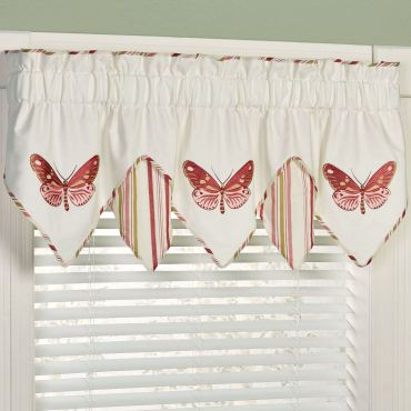 Butterfly Embroidered Window Valance