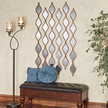 Bronze Teardrop Wall Mirror Panels