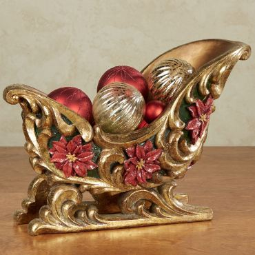 Poinsettia Sleigh Holder Table Accent