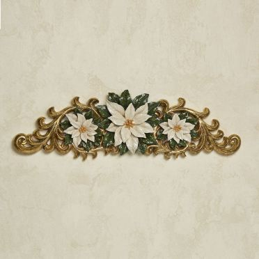 Ivory Poinsettia Holiday Door Topper