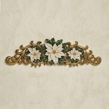 Ivory Poinsettia Holiday Door Topper
