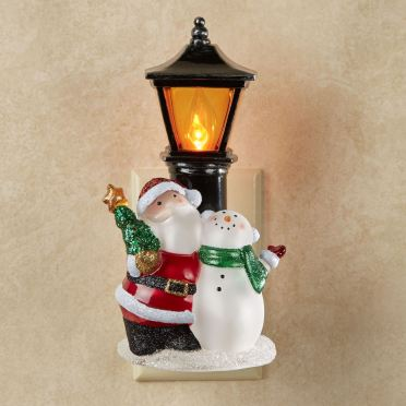 Santa and Snowman Flickering Nightlight
