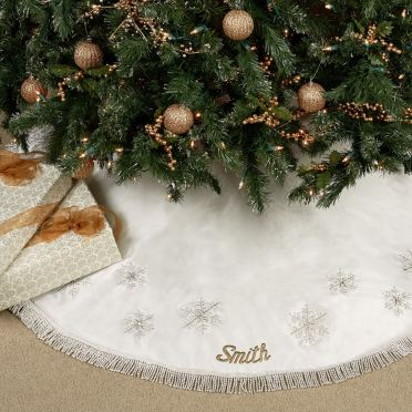 Elegant Snowflake White Christmas Tree Skirt