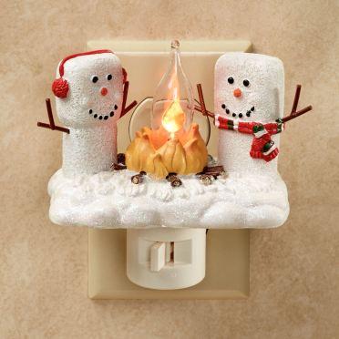 Marshmallow Snowmen Flicker Nightlight
