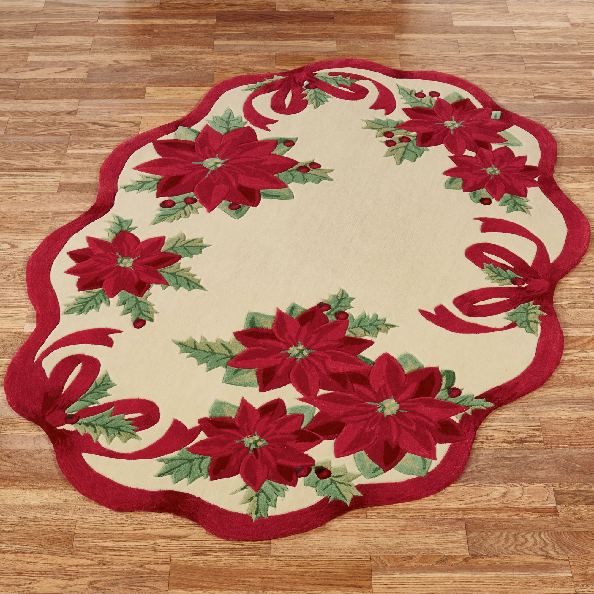 Holly Ribbon Poinsettia Rugs