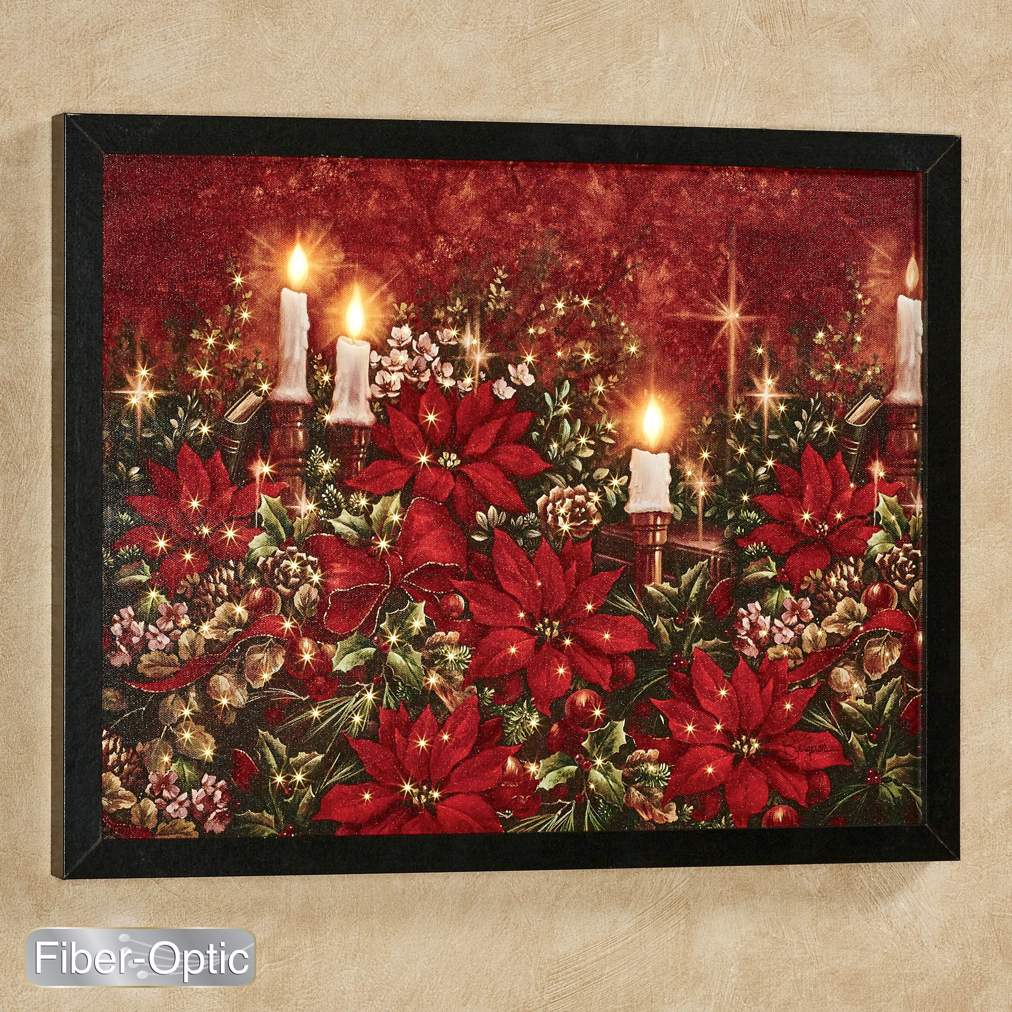 Poinsettia Lighted Canvas Wall Art