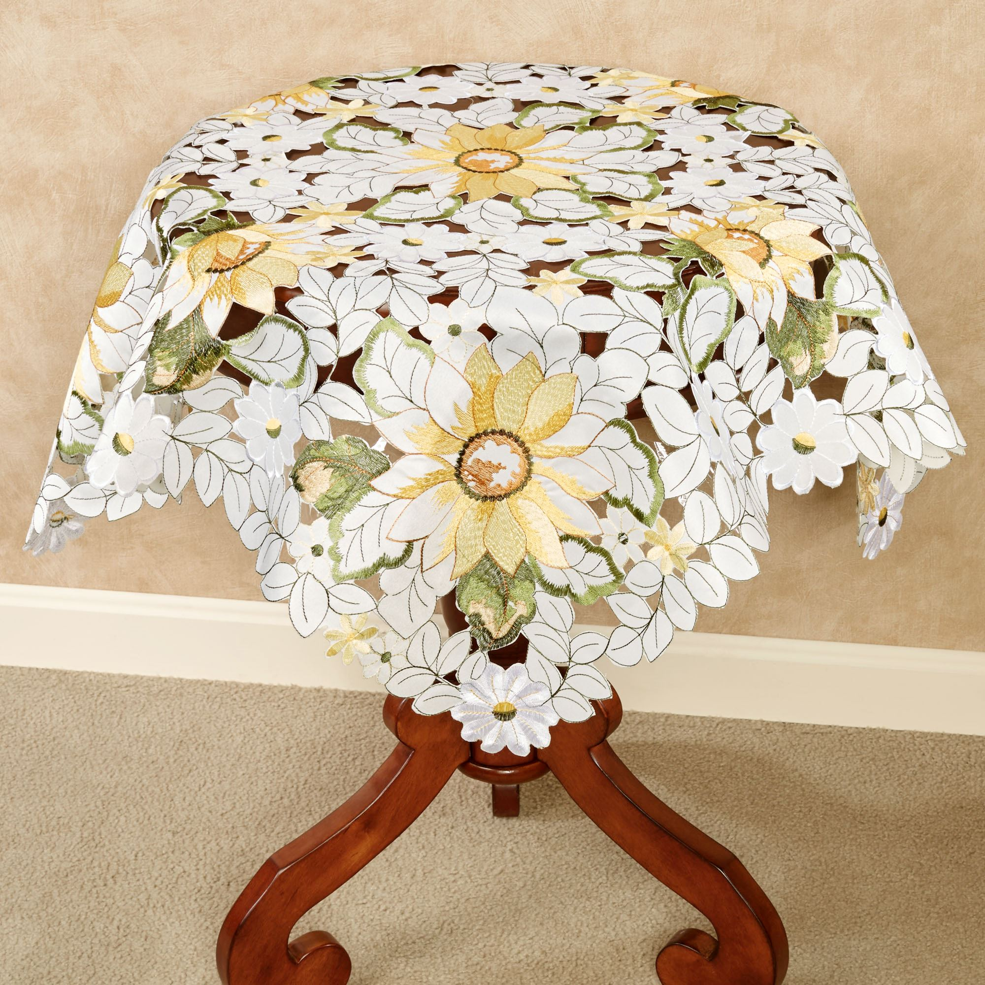 All Over Sunflowers Cutwork Table Topper