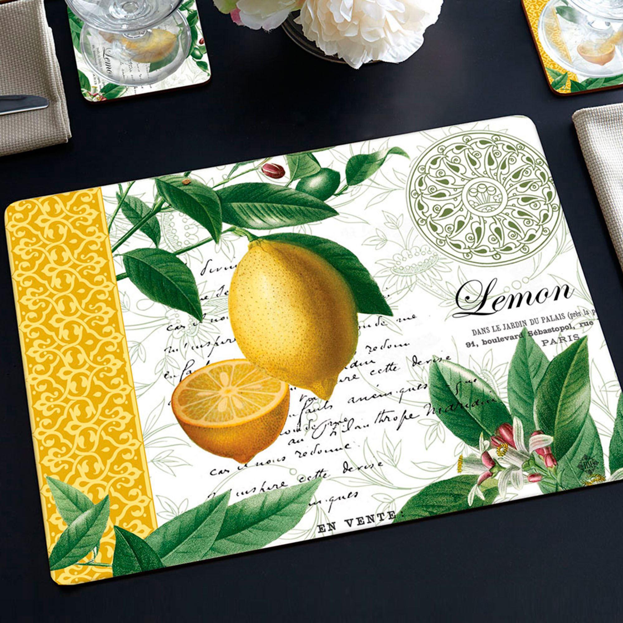 Citron Lemon Hardboard Placemat Set