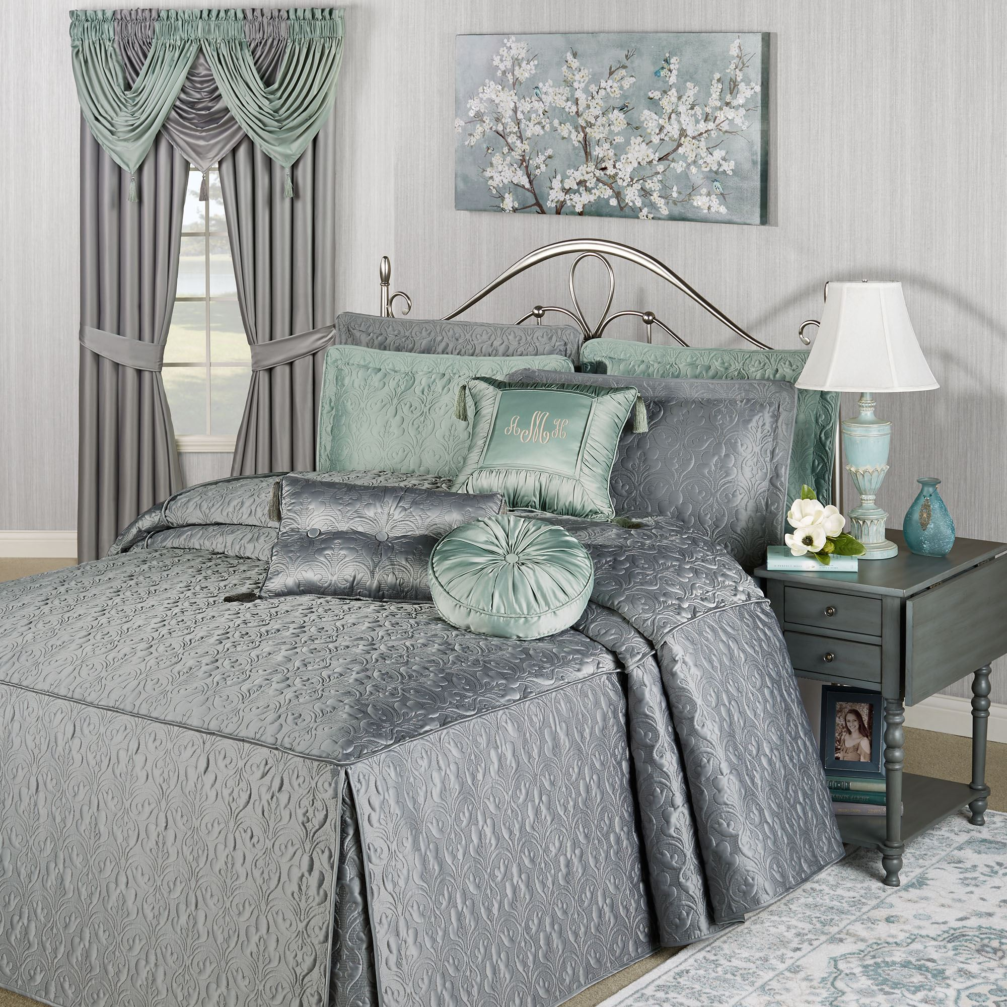 Cambridge Classics Warm Gray Fitted Bedspread Bedding