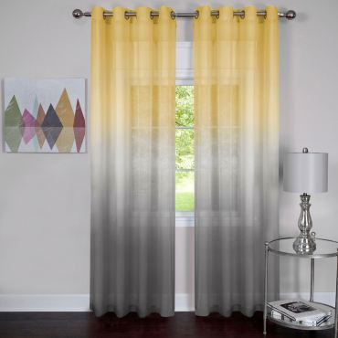 Rainbow Ombre Curtains in Gold and Gray
