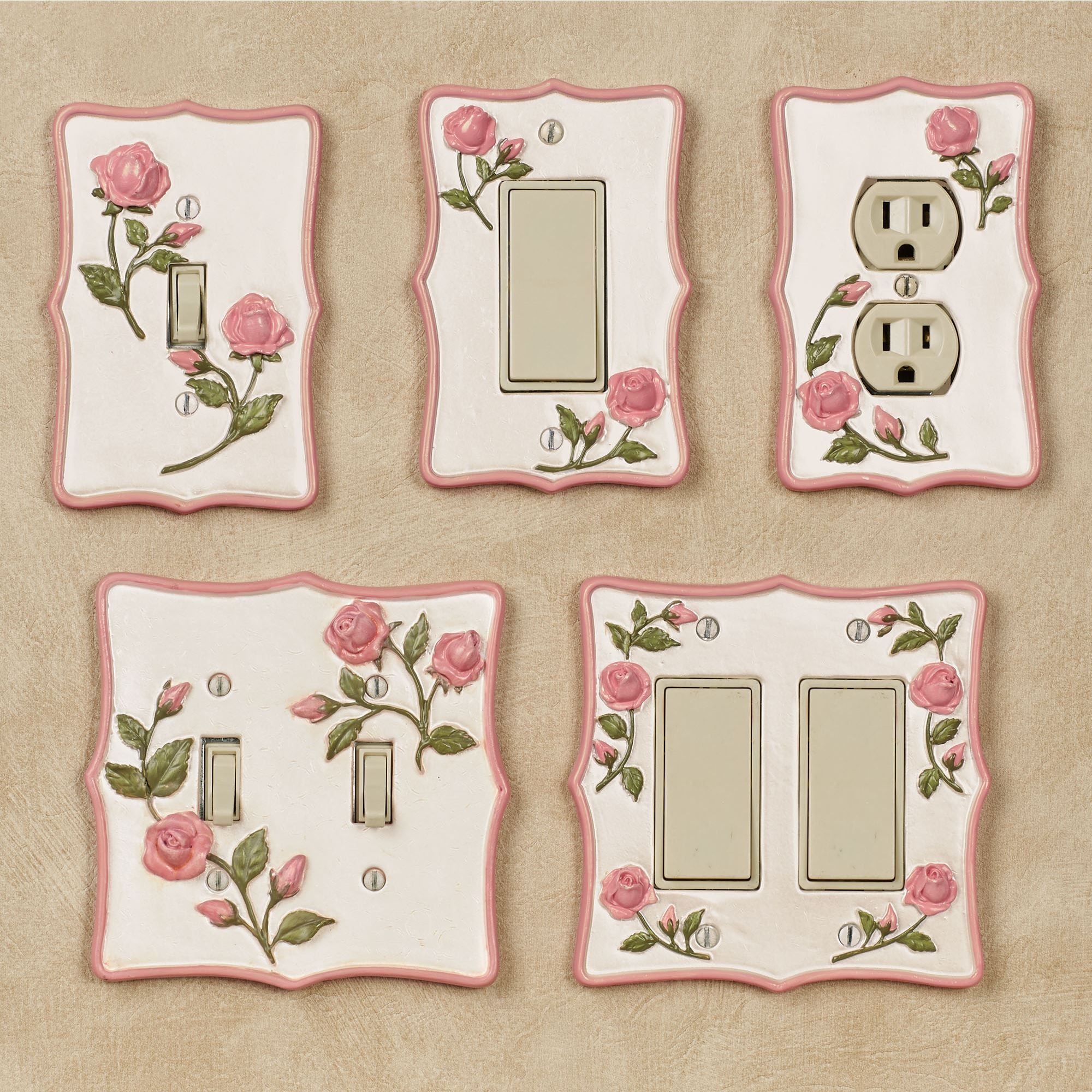 Bridal Rose Pink Floral Switchplates