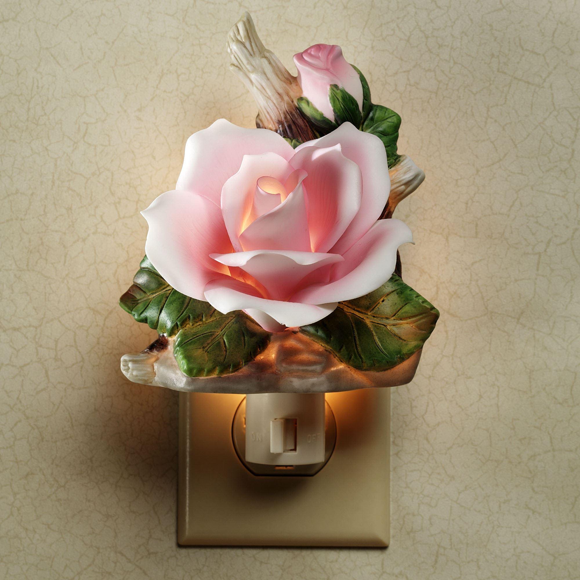 Porcelain Pink Rose Floral Nightlight