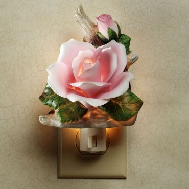 Porcelain Pink Rose Floral Nightlight