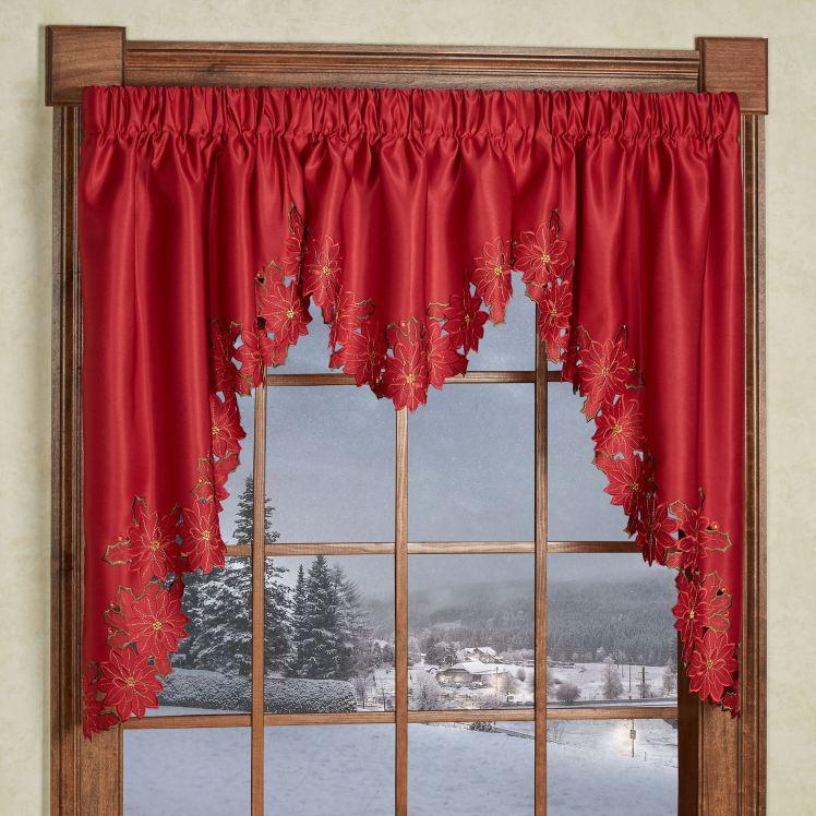 Christmas Poinsettia Window Valances